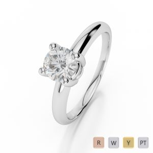 Gold / Platinum Round Shape Diamond Solitaire Ring AGDR-1009