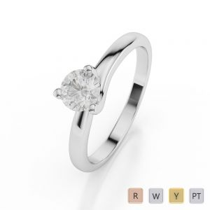 Gold / Platinum Round Shape Diamond Solitaire Ring AGDR-1019