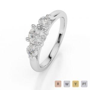 Gold / Platinum Diamond 3 (Three) Stone Ring AGDR-1045