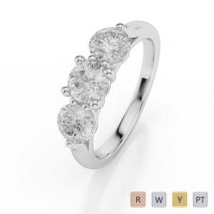 Gold / Platinum Diamond 3 (Three) Stone Ring AGDR-1046