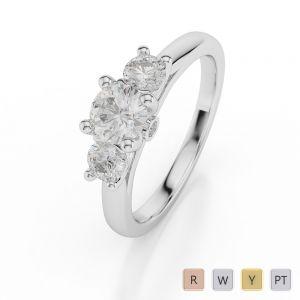 Gold / Platinum Diamond 3 (Three) Stone Ring AGDR-1048