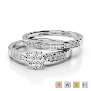 Gold / Platinum Round cut Diamond Bridal Set Ring AGDR-1051