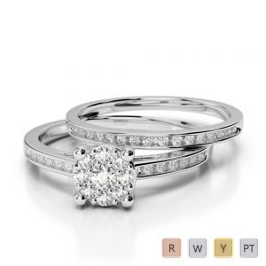 Gold / Platinum Round cut Diamond Bridal Set Ring AGDR-1052