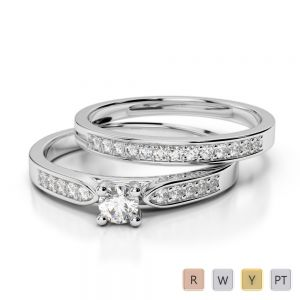 Gold / Platinum Round cut Diamond Bridal Set Ring AGDR-1054