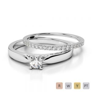 Gold / Platinum Round cut Diamond Bridal Set Ring AGDR-1055