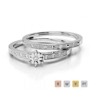 Gold / Platinum Round cut Diamond Bridal Set Ring AGDR-1056