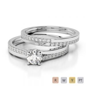 Gold / Platinum Round cut Diamond Bridal Set Ring AGDR-1060