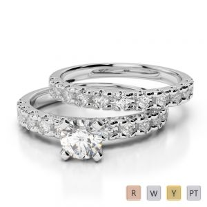 Gold / Platinum Round cut Diamond Bridal Set Ring AGDR-1144