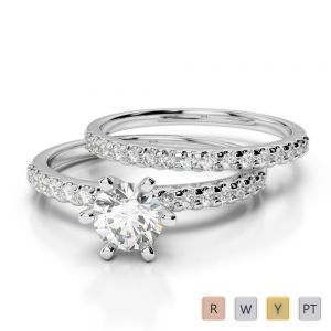 Gold / Platinum Round cut Diamond Bridal Set Ring AGDR-1145