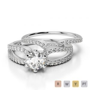 Gold / Platinum Diamond & Gemstone Bridal Set Ring AGDR-1148