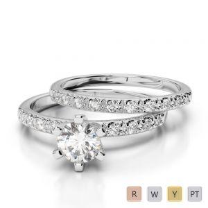 Gold / Platinum Diamond & Gemstone Bridal Set Ring AGDR-1149