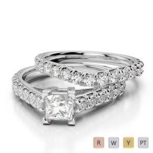 Gold / Platinum Diamond & Gemstone Bridal Set Ring AGDR-2007