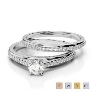 Gold / Platinum Diamond & Gemstone Bridal Set Ring AGDR-2061
