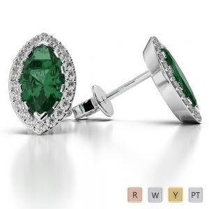 Marquise Shape Emerald and Diamond Earrings in Gold / Platinum AGER-1068