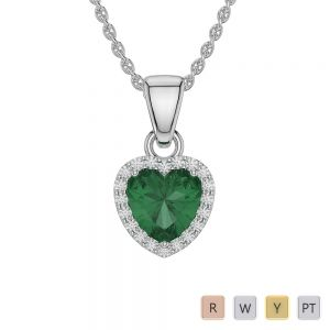 Gold / Platinum Heart Emerald Pendant Set AGPS-1064