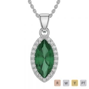 Marquise Shape Emerald and Diamond Necklaces in Gold / Platinum AGDNC-1067