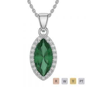 Gold / Platinum Marquise Emerald Pendant Set AGPS-1067