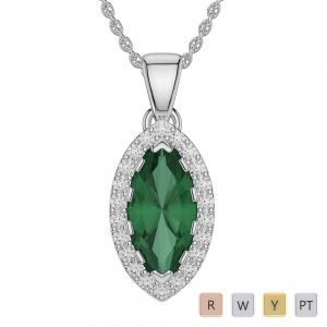 Marquise Shape Emerald and Diamond Necklaces in Gold / Platinum AGDNC-1068