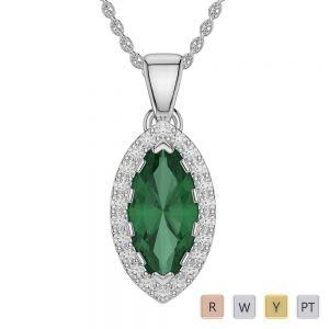 Gold / Platinum Marquise Emerald Pendant Set AGPS-1068