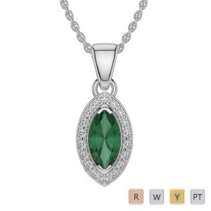 Marquise Shape Emerald and Diamond Necklaces in Gold / Platinum AGDNC-1069