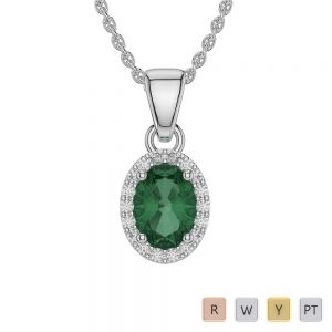 Gold / Platinum Oval Emerald Pendant Set AGPS-1072