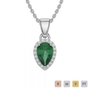 Gold / Platinum Pear Emerald Pendant Set AGPS-1074