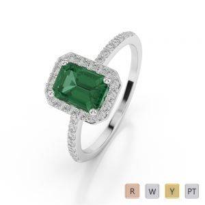 Gold / Platinum Emerald Shape Emerald and Diamond Ring AGDR-1062