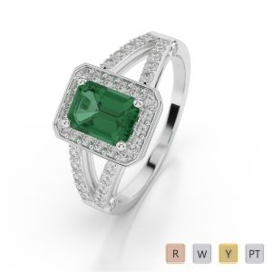 Gold / Platinum Emerald Shape Emerald and Diamond Ring AGDR-1063