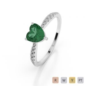 Gold / Platinum Heart Shape Emerald and Diamond Ring AGDR-1064