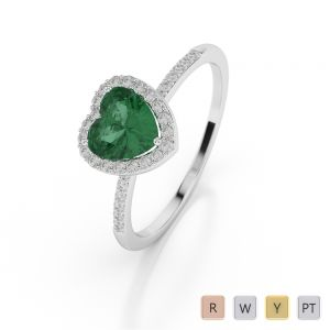 Gold / Platinum Heart Shape Emerald and Diamond Ring AGDR-1065