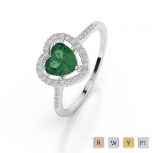 Gold / Platinum Heart Shape Emerald and Diamond Ring AGDR-1066