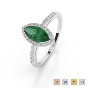 Gold / Platinum Marquise Shape Emerald and Diamond Ring AGDR-1067