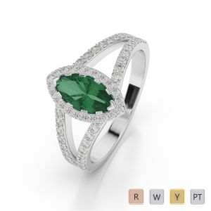 Gold / Platinum Marquise Shape Emerald and Diamond Ring AGDR-1068
