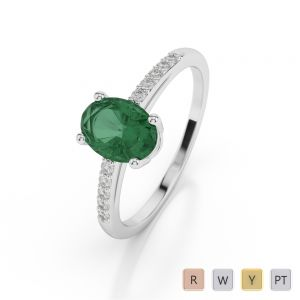 Gold / Platinum Oval Shape Emerald and Diamond Ring AGDR-1070