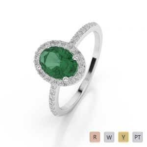 Gold / Platinum Oval Shape Emerald and Diamond Ring AGDR-1072