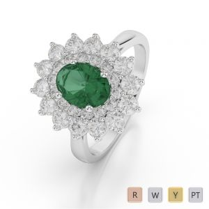 Gold / Platinum Oval Shape Emerald and Diamond Ring AGDR-1073