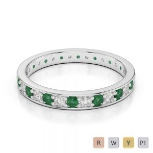 2.5 MM Gold / Platinum Round Cut Emerald and Diamond Full Eternity Ring AGDR-1079
