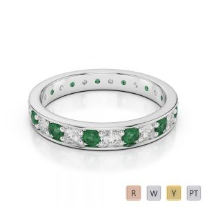 3 MM Gold / Platinum Round Cut Emerald and Diamond Full Eternity Ring AGDR-1080