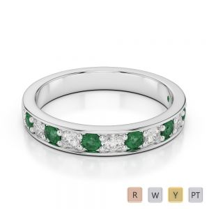 3 MM Gold / Platinum Round Cut Emerald and Diamond Half Eternity Ring AGDR-1084