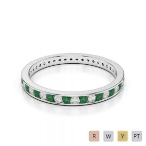 2.5 MM Gold / Platinum Round Cut Emerald and Diamond Full Eternity Ring AGDR-1086