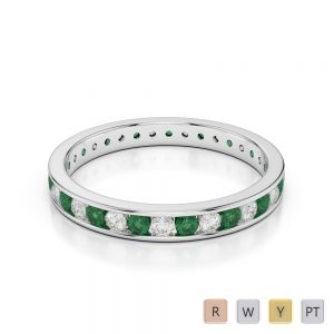 3 MM Gold / Platinum Round Cut Emerald and Diamond Full Eternity Ring AGDR-1087