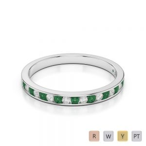 2.5 MM Gold / Platinum Round Cut Emerald and Diamond Half Eternity Ring AGDR-1089
