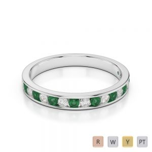 3 MM Gold / Platinum Round Cut Emerald and Diamond Half Eternity Ring AGDR-1090