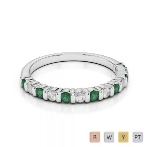 2 MM Gold / Platinum Round Cut Emerald and Diamond Half Eternity Ring AGDR-1095