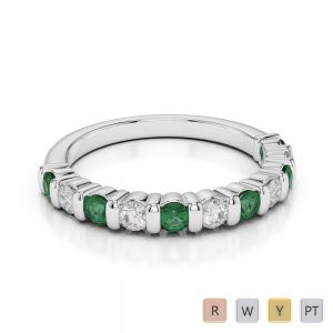 2.5 MM Gold / Platinum Round Cut Emerald and Diamond Half Eternity Ring AGDR-1096