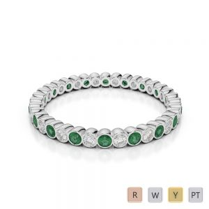 2 MM Gold / Platinum Round Cut Emerald and Diamond Full Eternity Ring AGDR-1098