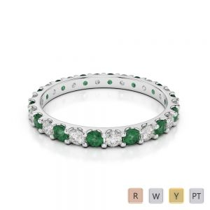 Gold / Platinum Round Cut Emerald and Diamond Full Eternity Ring AGDR-1104