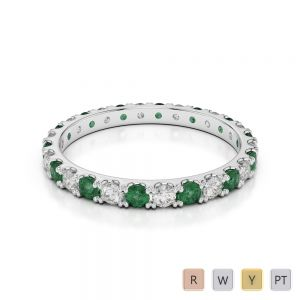 Gold / Platinum Round Cut Emerald and Diamond Full Eternity Ring AGDR-1120