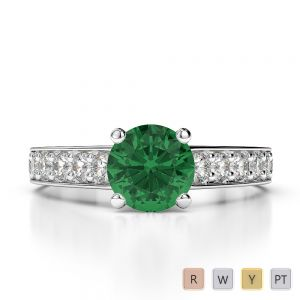 Gold / Platinum Round Cut Emerald and Diamond Engagement Ring AGDR-1202