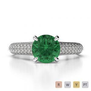 Gold / Platinum Round Cut Emerald and Diamond Engagement Ring AGDR-1203